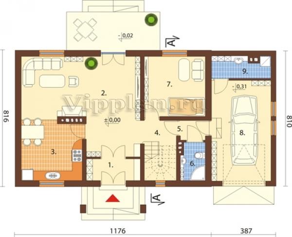 план дома с гаражом и мансардой фото
